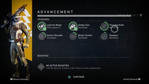 Advancement screen at the end of a mission